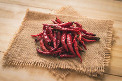 Dried red hot chilli chillies pepper Stock Photos