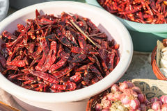 Dried red hot chillis Stock Photo