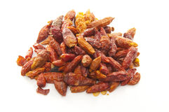 Dried red hot chily pepper on white Royalty Free Stock Photography
