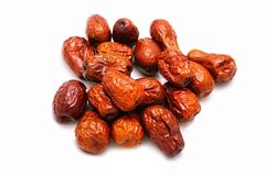 Dried red jujube on white background, a type of fruits. stock photography