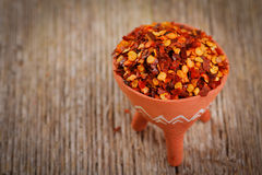Dried red pepper flakes Royalty Free Stock Photos