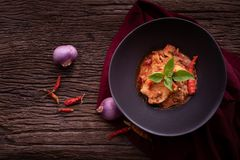 Dried red pork coconut curry. Thai cuisine stock photography