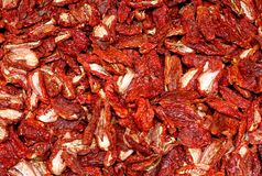 Dried red ripe tomatoes for sale at vegetable market Stock Image