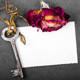 Dried red rose, rusty key and blank photograph, Stock Photography