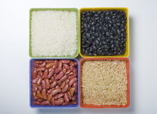 Dried rice and beans. Royalty Free Stock Images