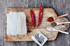 Dried Rice Noodles, asian food, Royalty Free Stock Photos