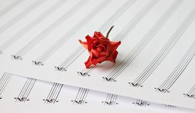 Dried rose on empty note stave Stock Photo