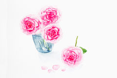 Dried rose with falling petals on white Royalty Free Stock Photo