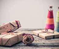 Dried rose flower and gift boxes Stock Image