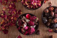 Dried rose hips, buds and petals Stock Photography