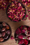 Dried rose hips, buds and petals Stock Image