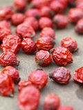 Dried rose hips on table, selective focus, some berries in focus Royalty Free Stock Image