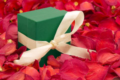 Dried rose petal back ground and green box with ribbon Stock Image