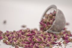 Dried rose petal flower on isolate white background.Blurred close up dried roses flower tea on white background. stock photography