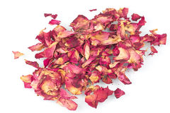 Dried rose petals. The close-up of dried rose petals royalty free stock photos