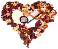 Dried rose petals and cosmetics Royalty Free Stock Images