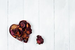 Dried Rose Petals Heart Stock Images