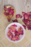 Dried rose petals for natural herbal drink. Royalty Free Stock Images