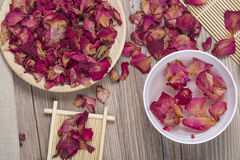 Dried rose petals for natural herbal drink. Stock Images