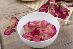 Dried rose petals for natural herbal drink. Stock Image