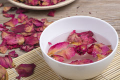 Dried rose petals for natural herbal drink. Stock Photos