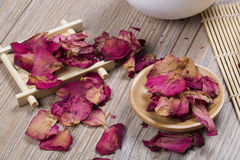 Dried rose petals for natural herbal drink. Royalty Free Stock Photography