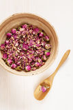 Dried rose petals: for tea, alternative medicine, pot-pourri stock photos
