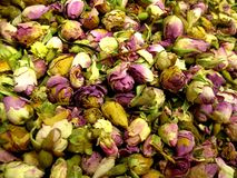 Dried rosebuds. Some dried rosebuds on a market in Turkey royalty free stock photography