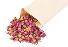 Dried rosebuds and bag Royalty Free Stock Image