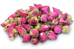 Dried Rosebuds on a white. Stock Photo