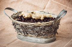 Dried rosehips and ginger arranged in the wicker tin basket, healthy lifestyle. Dried rosehips and ginger arranged in the wicker tin basket. Healthy lifestyle royalty free stock photos