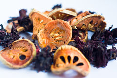 Dried Roselle  and  dried bael Royalty Free Stock Images