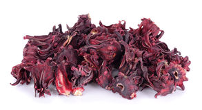 Dried roselle isolated on the white background Royalty Free Stock Photos