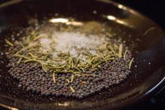Dried rosemary with black mustard seeds, salt and black pepper powder closeup. Aroma herbs and spices on plate. Dried rosemary with black mustard seeds, salt stock photography