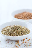Dried Rosemary and Coriander seeds Royalty Free Stock Photos