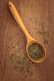 Dried rosemary leaves in wooden spoon Stock Image