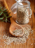 Dried rosemary on the spoon Stock Photo