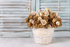Dried roses in basket against blinds Royalty Free Stock Photo