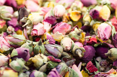 Dried roses buds as a background. Rose tea mixture Stock Photo