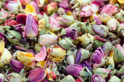 Dried roses buds as a background. Rose tea mixture Royalty Free Stock Images