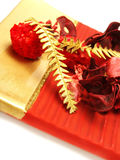 Dried roses, ferns as Christmas decoration Stock Photos