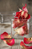 Dried roses in jar Royalty Free Stock Photos