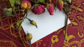 Dried rose buds and flowers with a card and room for text. Dried Roses on top of a white card for text Stock Photo