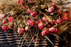 Dried roses in a wicker basket Stock Photos