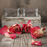 Dried roses on wood Royalty Free Stock Photos