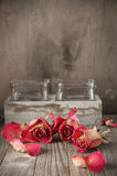 Dried roses on wood Royalty Free Stock Image