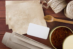 Dried saffron spice and material for packaging Royalty Free Stock Photography