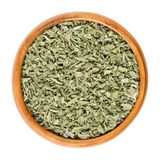 Dried sage in wooden bowl over white Royalty Free Stock Image