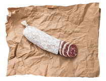 Dried salami sausage background Stock Photography