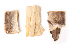 Dried Salt Cod Pieces, Isolated Royalty Free Stock Photos